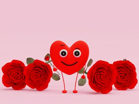 Heart-shaped character gives a rose while smiling - 3d rendering Banco de Imagens
