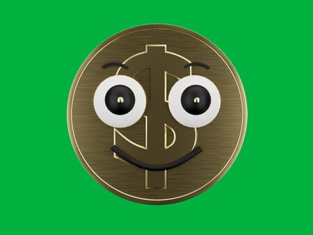 Dollar sign coin with a happy face expression with a green chrome key background - 3D Rendering Concept