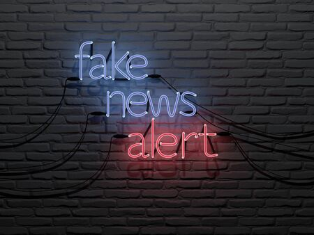 Fake news alert neon sing in a brick wall - 3d Rendering Concept