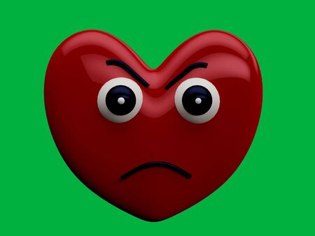 Heart with angry face expression with a green chrome key background - 3D Rendering Concept