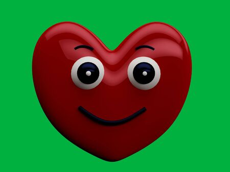 Heart with a happy face expression with a green chrome key background - 3D Rendering Concept