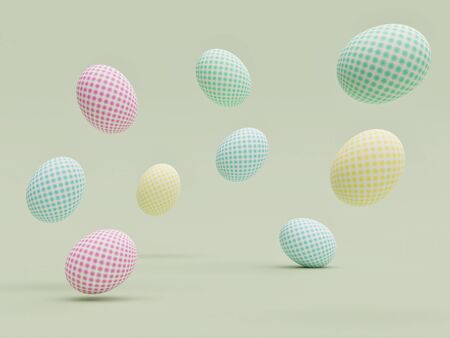 Easter eggs with beautiful patterns randomly floating in the air with a light green aqua background - 3D Rendering Concept