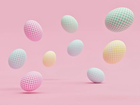 Easter eggs with beautiful patterns randomly floating in the air with a pink background - 3D Rendering Concept 版權商用圖片