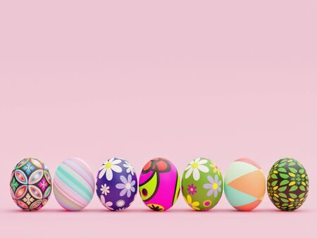 Easter Eggs with beautiful and colorful patterns aligned in front a pink background - 3D Rendering Concept