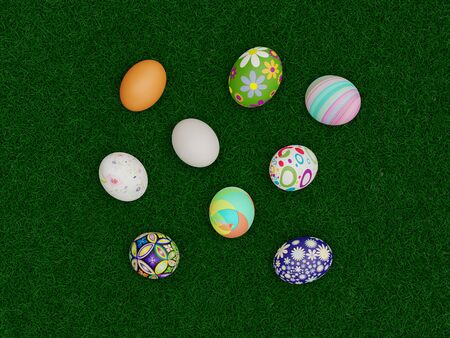 Easter Eggs with beautiful pattern and color viewed from above over green grass for a flatlay concept - 3D Rendering Concept