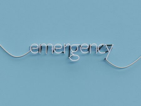 Emergency neon sign over blue