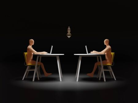Two people working with computers in a dark room or environment illuminated with a bulb - 3d rendering concept