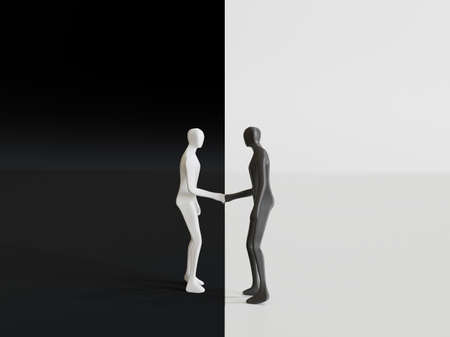 White and Black males figures shaking hands in black and white background - 3d rendering Stockfoto