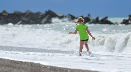 Girl at North Sea beach