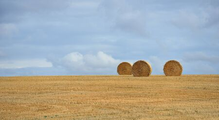 Rural idyll - straw bales on the harvested field Stock Photo