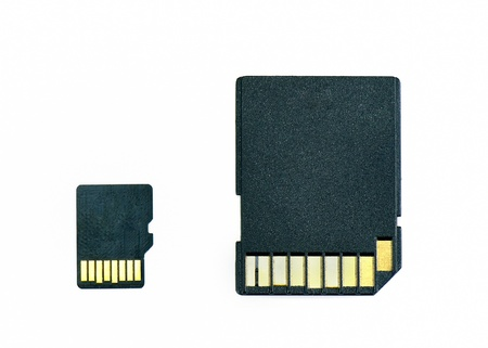 Backs of micro SD and standard SD memory cards