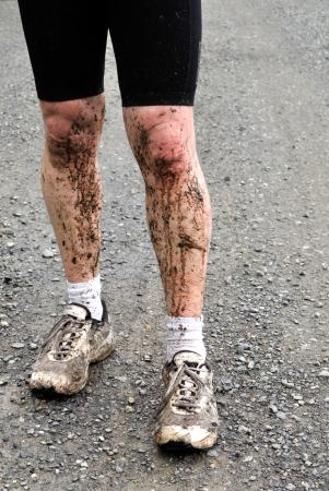 splashed: After a Mountain bike tour Stock Photo