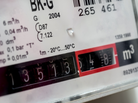 Gas meters in close-up
