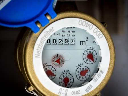 Water meter in close-up
