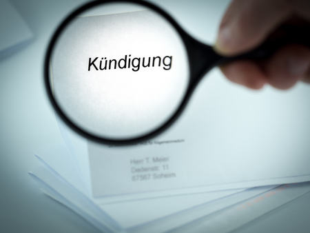Cover letter with the word Kundigung in the letterhead