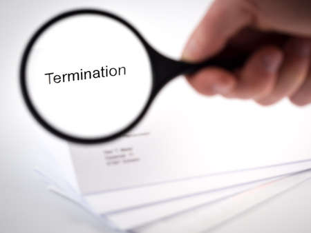 Cover letter with the word Termination in the letterhead photo