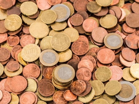 A bunch of various Euro coins and cents Stock Photo