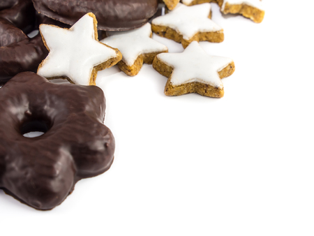 Black and White Christmas Cookies - Gingerbread and Cinnamon Stars Stock Photo - 23194074
