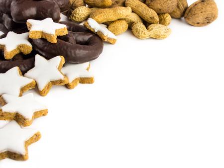 Gingerbread, cinnamon stars, walnuts and peanuts