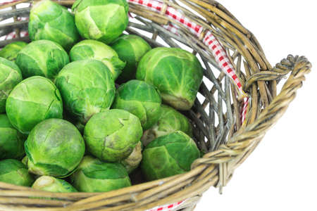brussels Sprouts in basket Stock Photo