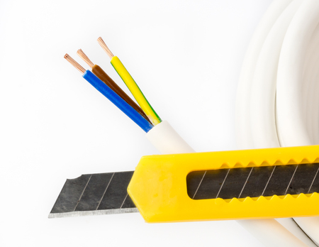 stripped: Stripped cords of a three-wire power cord