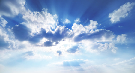 sunbeams break through the clouds Standard-Bild