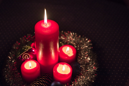 advent wreath: Candlelight on the Advent wreath Stock Photo