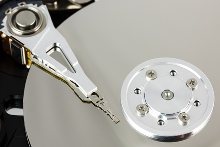 Details of an open computer hard drive
