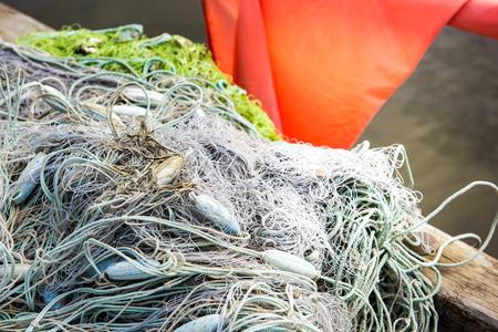 Grey Fishnet in a boat Standard-Bild
