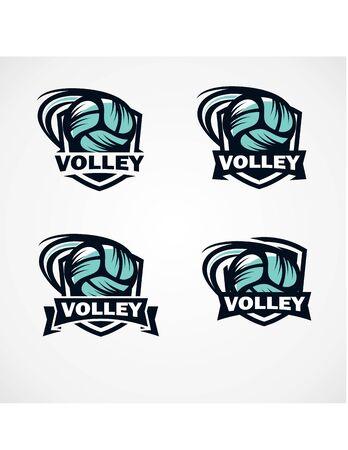 Volley Badge Logo Vector Set of 4