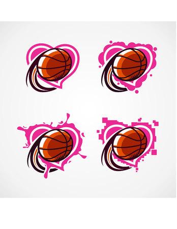 Love Basketball Vector Set of 4