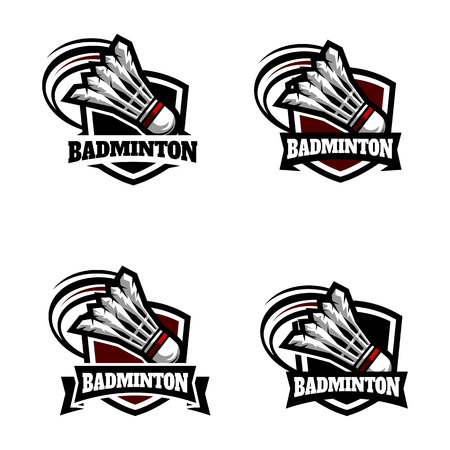 Badminton Badge Logo Set of 4 on white background.