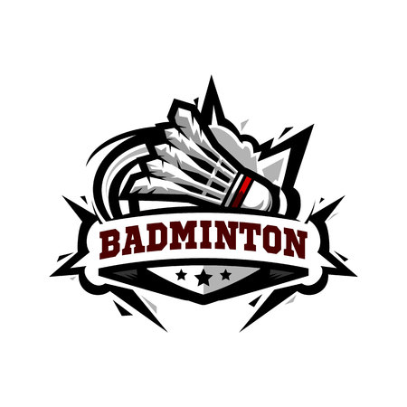 Swoosh Badminton Logo Vector on white background.