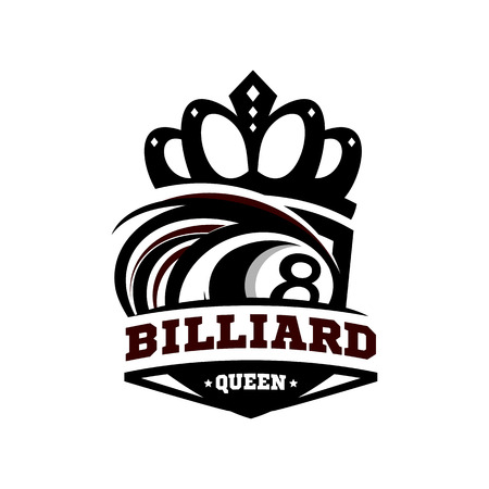 Billiard Queen Logo Vector.