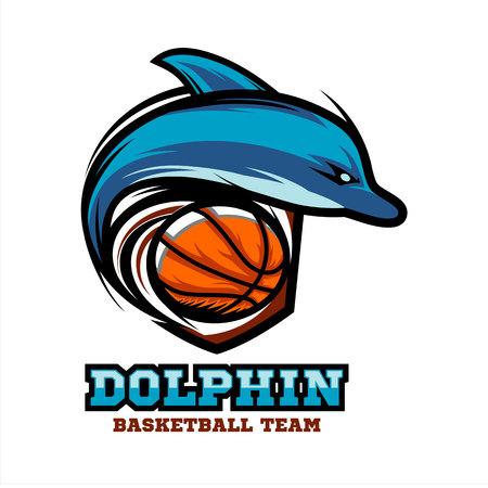 Dolphin Basketball Logo Vector. Vectores