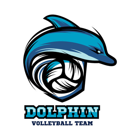 Dolphin Volleyball Logo Vector. Çizim