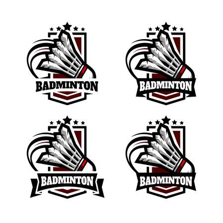 Badminton leger Badge Logo Vector illustratie.