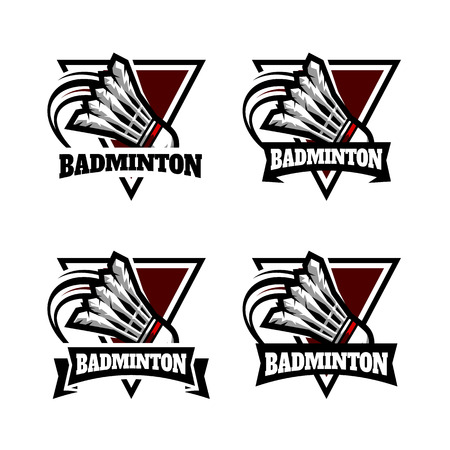 Badminton Triangle Badge Logo Vector illustration.