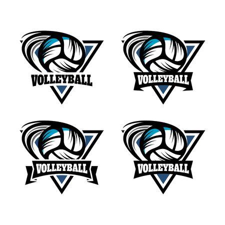 Volleybal driehoek Badge Logo Vector illustratie. Stock Illustratie