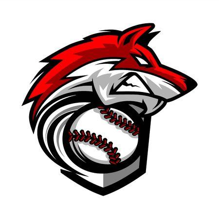 Logo della squadra del lupo di baseball