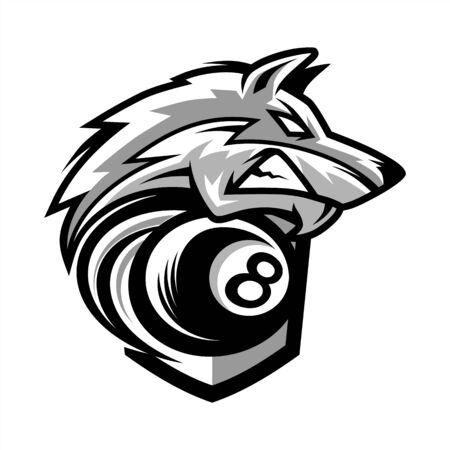 Billiard Wolf Team Logo 免版税图像 - 129607759