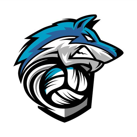 Volleyball Wolf Team Logo Logo