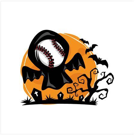 Baseball Halloween Moon Theme Vector Иллюстрация