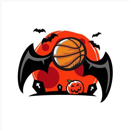 Basketball Halloween Moon Theme Vector