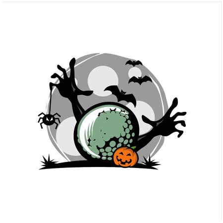 Golf Halloween Theme Vector