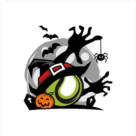 Tennis Halloween Moon Theme Vector 矢量图像