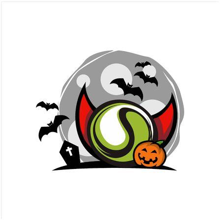 Tennis Halloween Moon Theme Vector