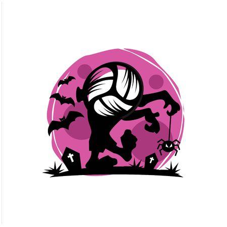 Volleyball Halloween Moon Theme