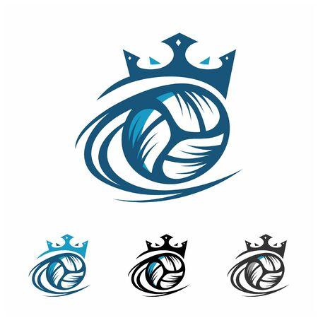 Volleyball Ball King Logo Vector
