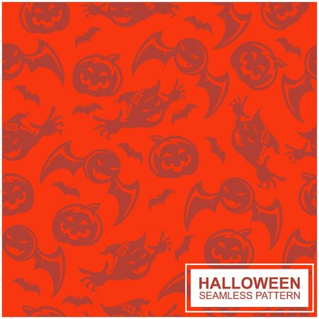 Vector seamless pattern with Halloween elements. Design for greeting card, gift box, wallpaper, fabric, web design.